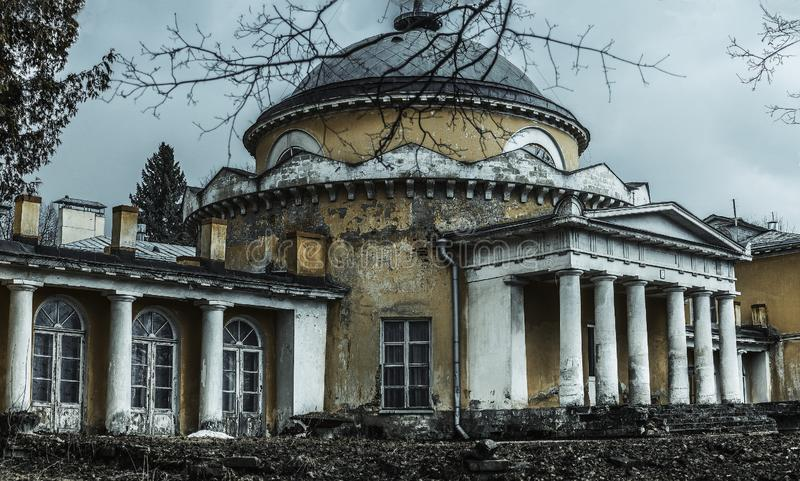 An abandoned old manor house. Past greatness rests in ruins... Fame has fallen into oblivion. Sukhanovo estate royalty free stock photo