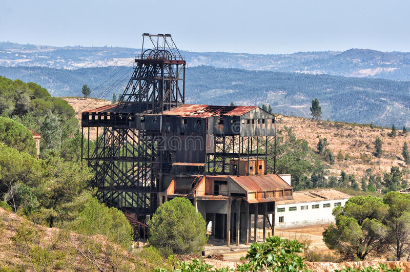 Abandoned old mine in southwest Spain stock photo