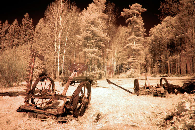 Abandoned Old Seeder Agricultural Machinery Stock Photo