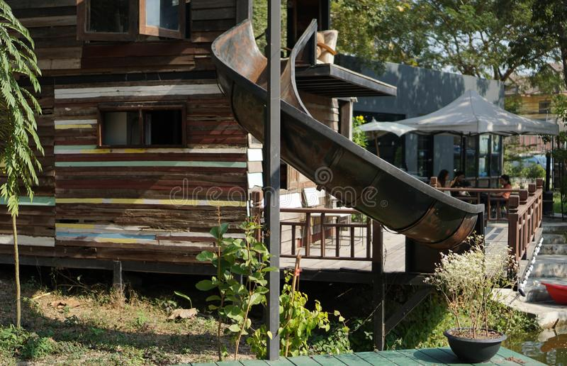 Abandoned old water slide in the park stock photo
