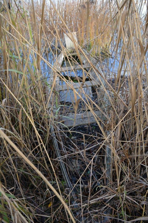 Abandoned old wooden fishing boat on autumn lake coast stock photos