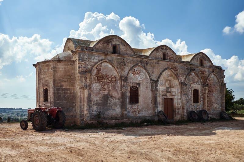 Abandoned orthodox Churchil in Rizokarpaso Cyprus island royalty free stock photo