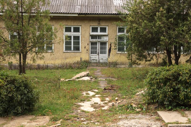 Abandoned pension in Soveja, Romania royalty free stock photography