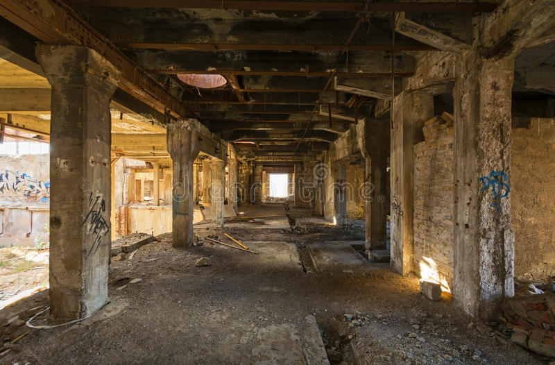 Abandoned place. View of an old, wrecked factory interior, abandoned place in Piraeus, Greece stock photos