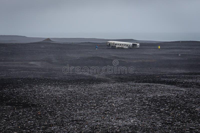 Abandoned plane in Iceland stock photo