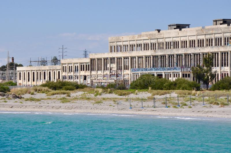 Abandoned Power House off Ocean Waters in Fremantle, Western Australia stock photos