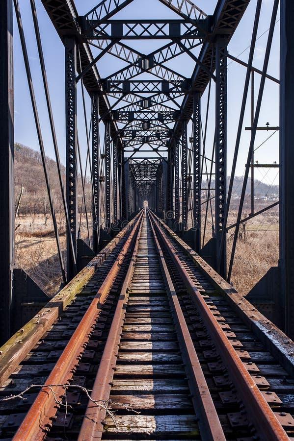 Abandoned Pratt Through Truss Railroad Bridge - Track View. A view of an abandoned railroad Pratt through truss bridge in southern Ohio on a sunny winter stock photography