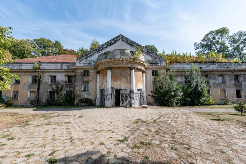 Abandoned public mineral bath in Sofia,Bulgaria. royalty free stock photography