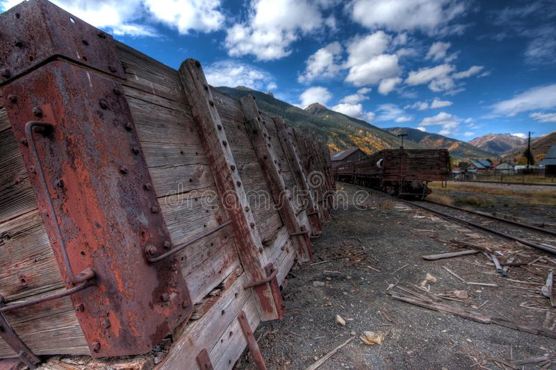 Abandoned rail car in Silverton Colorado durning the colorful fall. Historic scenic silver mining town stock photos