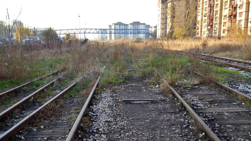 Abandoned rail tracks Dorcol Belgrade Serbia. View at abandoned rail tracks Dorcol Belgrade Serbia royalty free stock photos