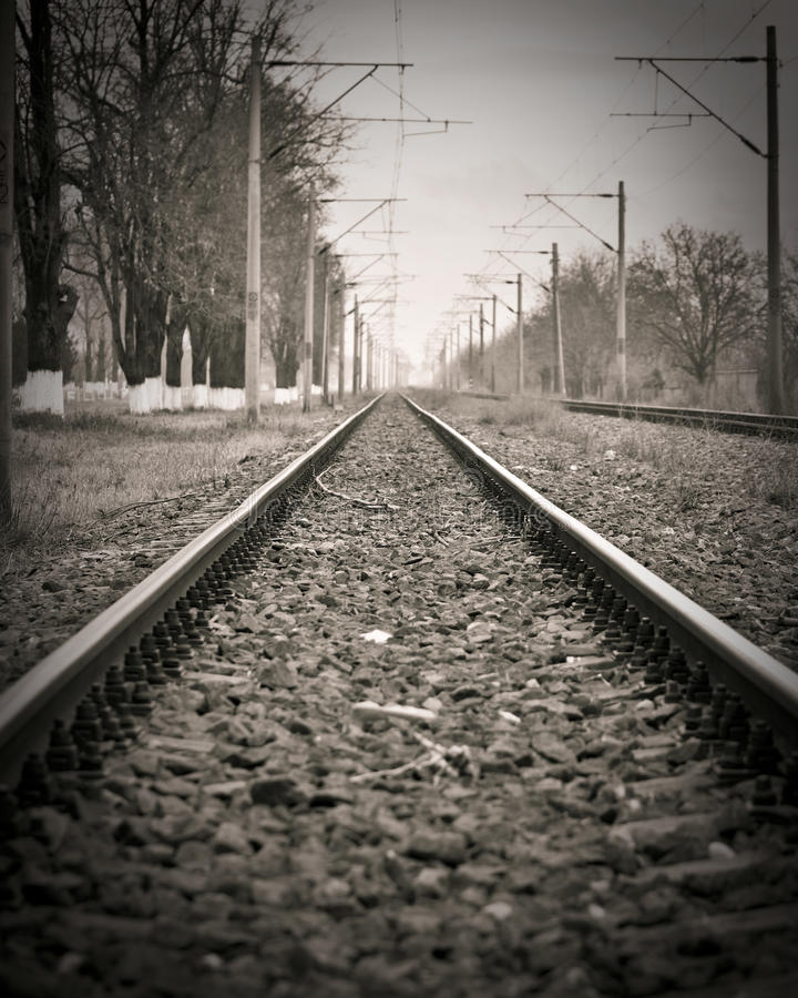 Abandoned railroad. Vintage image of an abandoned railroad stock photo