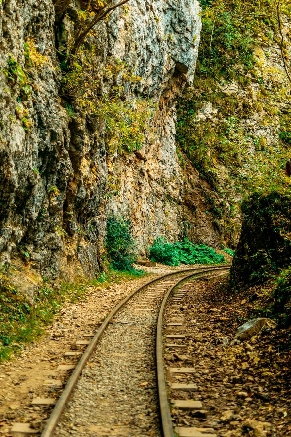 Abandoned railway track in the autumn forest. the rocks of the mountains royalty free stock image