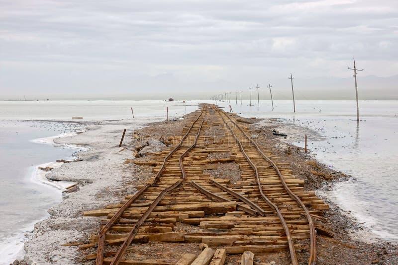 Abandoned Railways. The Abandoned Railways in Caka Salt Lake in Qinghai, China royalty free stock photos