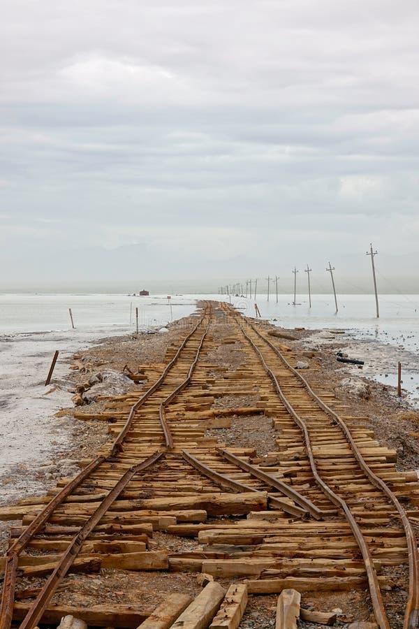 Abandoned Railways. The Abandoned Railways in Caka Salt Lake in Qinghai, China royalty free stock photo