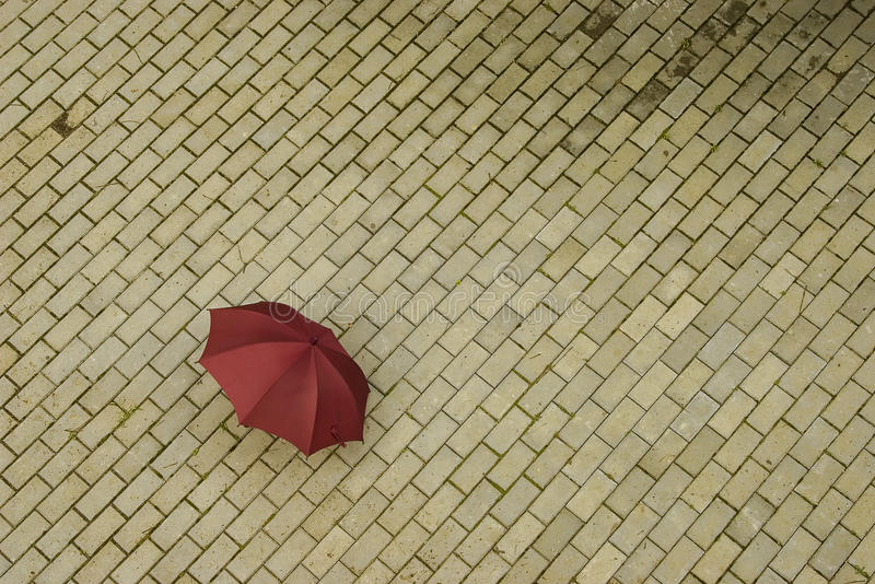 Abandoned Red Umbrella Royalty Free Stock Photos