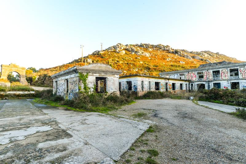 The old military base - Baiona. The abandoned remains of an old Spanish military base in the hills above Baiona - Galicia - Spain stock photography