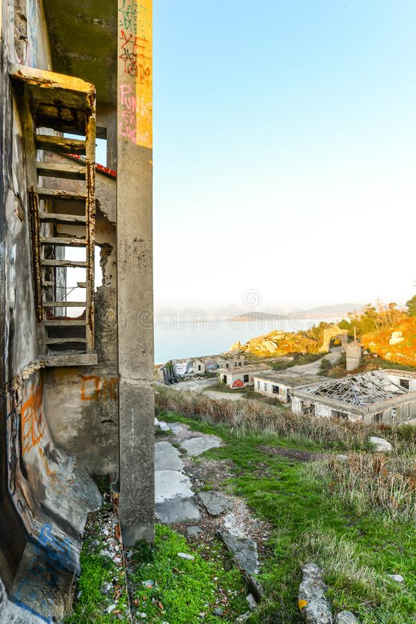 The old military base - Baiona. The abandoned remains of an old Spanish military base in the hills above Baiona - Galicia - Spain royalty free stock photography