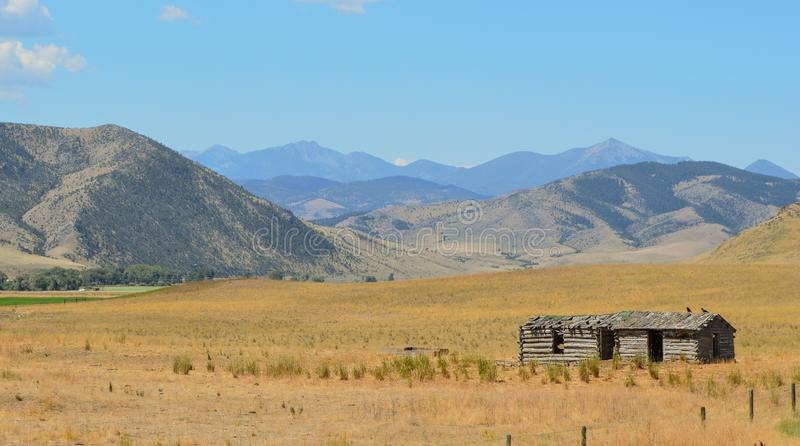 Abandoned remains of old western homestead building stock photos