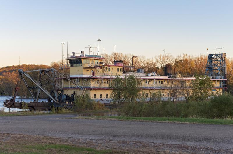Abandoned Riverboat on Mississippi River in Prairie du Chien. Wisconsin royalty free stock photo