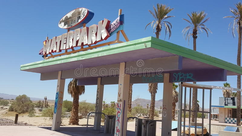 Abandoned rockahoola water park sign entrance in Newberry Springs California stock images