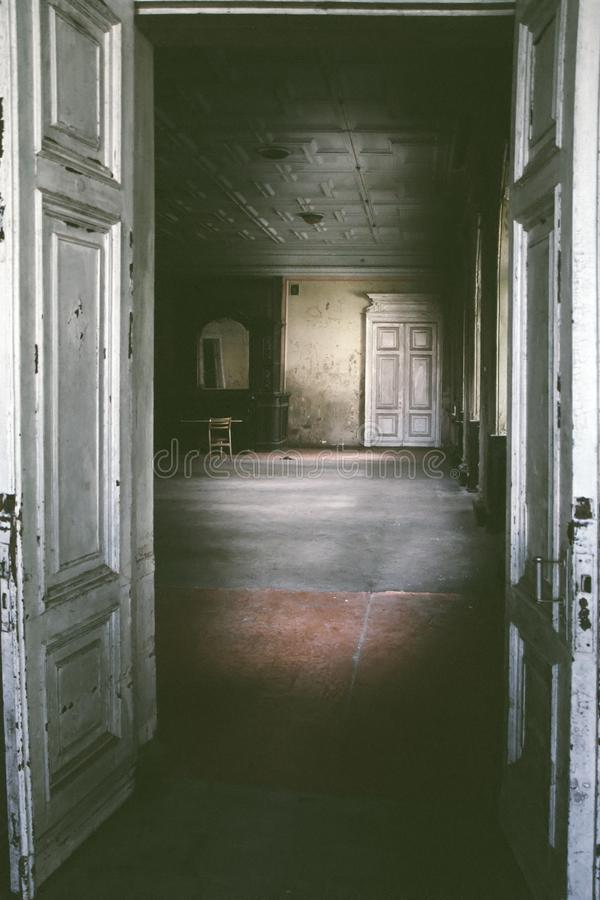 Abandoned room in old house royalty free stock photo