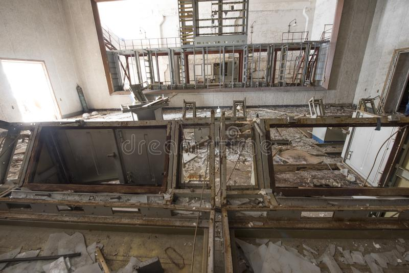 Abandoned room in Soviet military command center building at DUG. Remains of command center building in abandoned Soviet Duga Radar. Duga was an over-the-horizon royalty free stock images