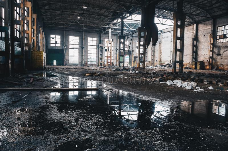 Abandoned ruined industrial factory building, ruins and demolition concept stock photography