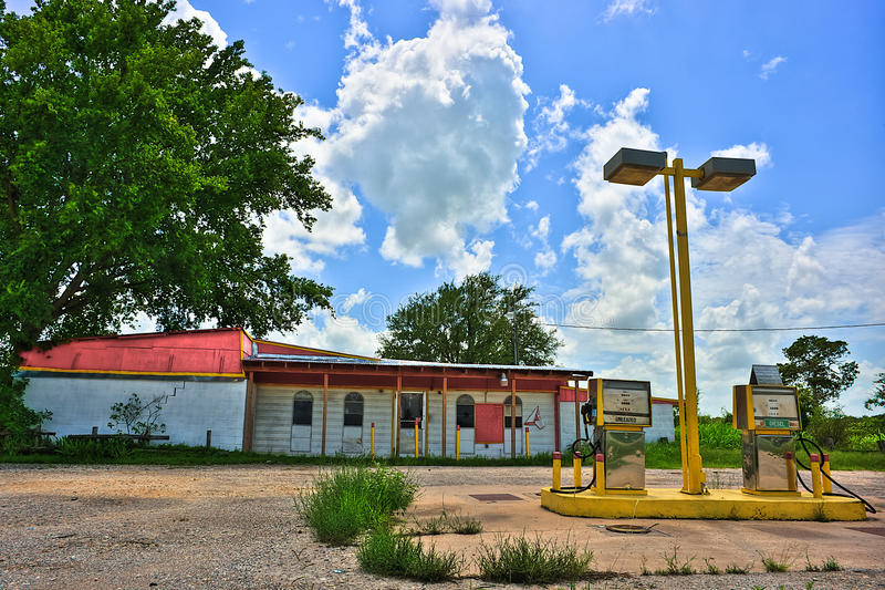 Abandoned Rural Gas Station Near Elgin Texas stock images