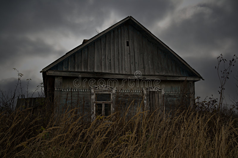 Abandoned rural house in Russian village royalty free stock images