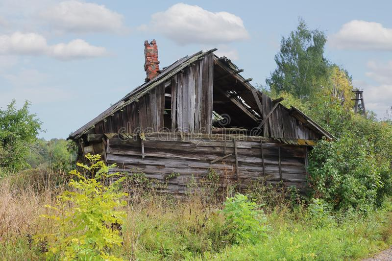 Abandoned Russian traditional rural house royalty free stock photo