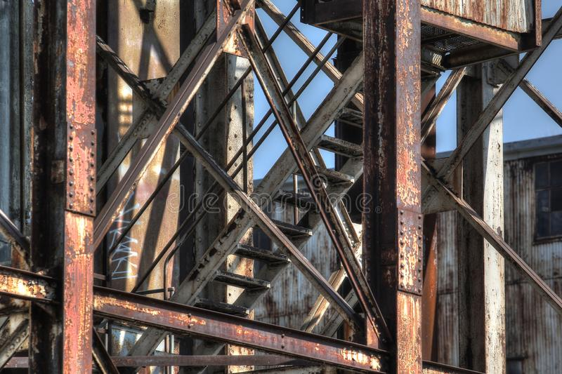 Abandoned rusted industrial structures in old port royalty free stock photos