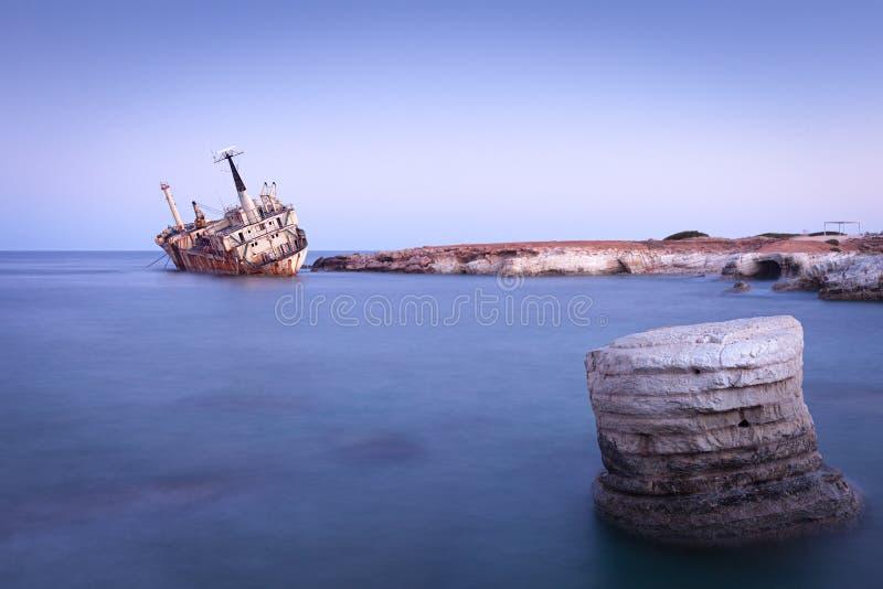 Abandoned rusty ship Edro III near Pegeia, Paphos, Cyprus royalty free stock photos