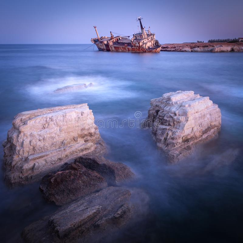 Abandoned rusty ship Edro III near Pegeia, Paphos, Cyprus. At sunrise stock image