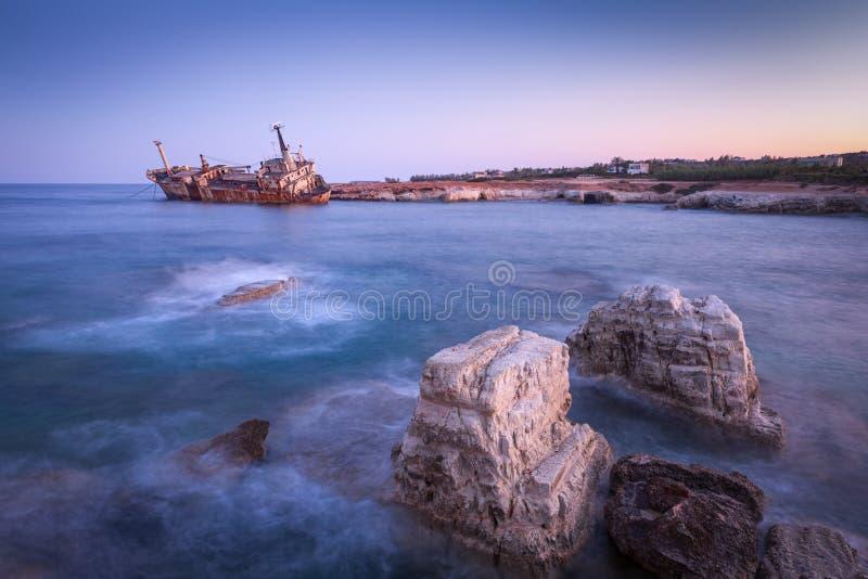 Abandoned rusty ship Edro III near Pegeia, Paphos, Cyprus. At sunrise royalty free stock photography