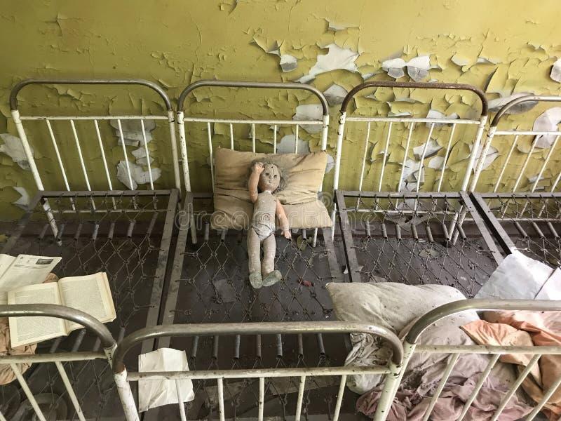 Abandoned school. In Kopachi a village near Chernobyl Ukraine royalty free stock images
