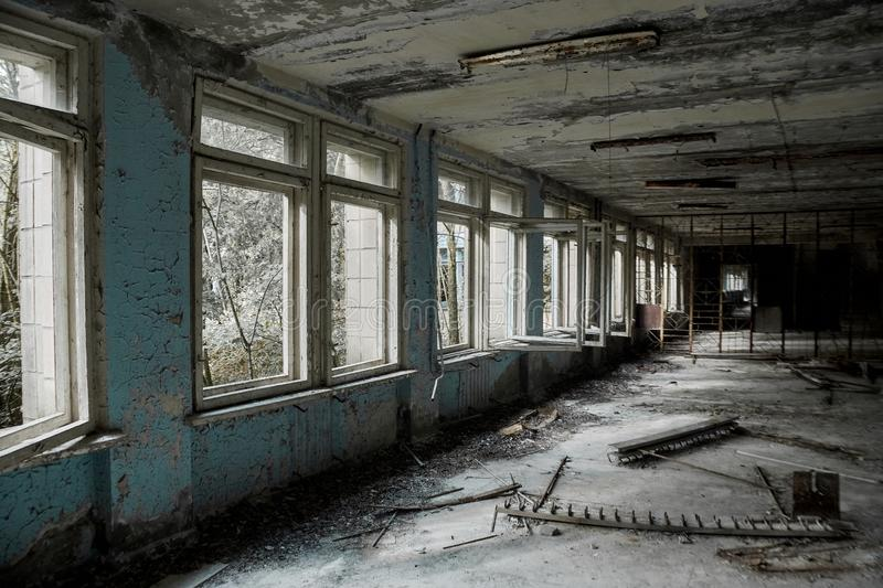 Abandoned school number 13 in the city of Pripyat, Chernobyl, Ukraine. Exclusion zone royalty free stock image