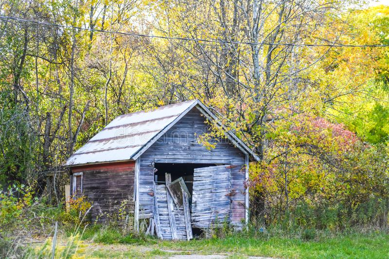 Abandoned Shack in the Woods. An abandoned shack in the woods in Southern Door County, WI in the fall stock photography