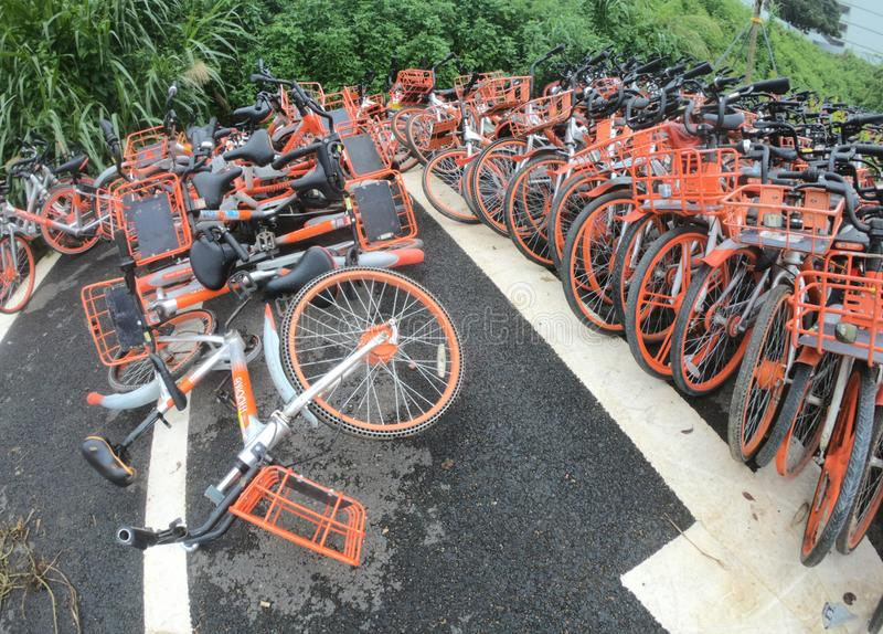 Abandoned shared bikes in China royalty free stock photos