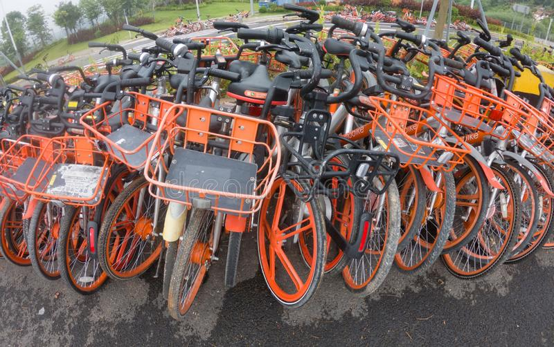 Abandoned shared bikes in China stock images