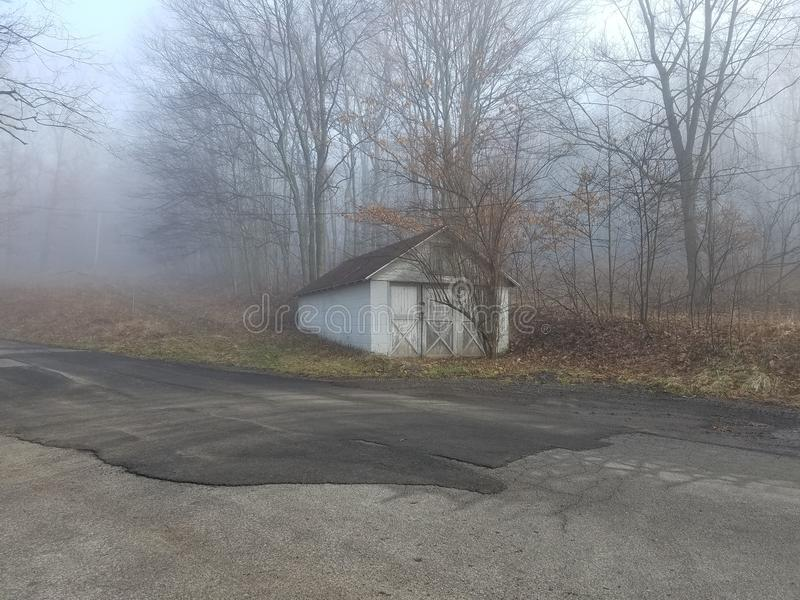 Foggy day. A abandoned shed with trees growing in front of it on a foggy gloomy day royalty free stock photography