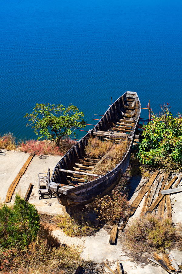 abandoned ship by the Erhai Lake royalty free stock images
