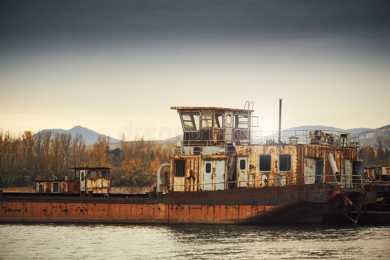 Abandoned shipwreck. Photo of an Abandoned shipwreck on the shore royalty free stock photography