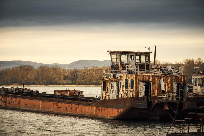 Abandoned shipwreck. Photo of an Abandoned shipwreck on the shore royalty free stock images
