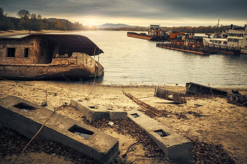 Abandoned shipwreck. Photo of an Abandoned shipwreck on the shore royalty free stock image