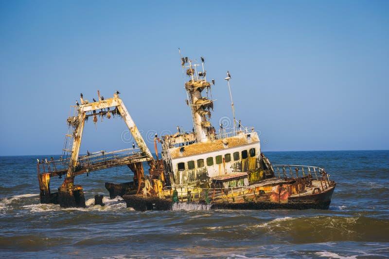 Abandoned shipwreck of the stranded Zeila vessel at the Skeleton Coast, Namibia. Abandoned shipwreck of the stranded Zeila vessel at the Skeleton Coast near stock photo
