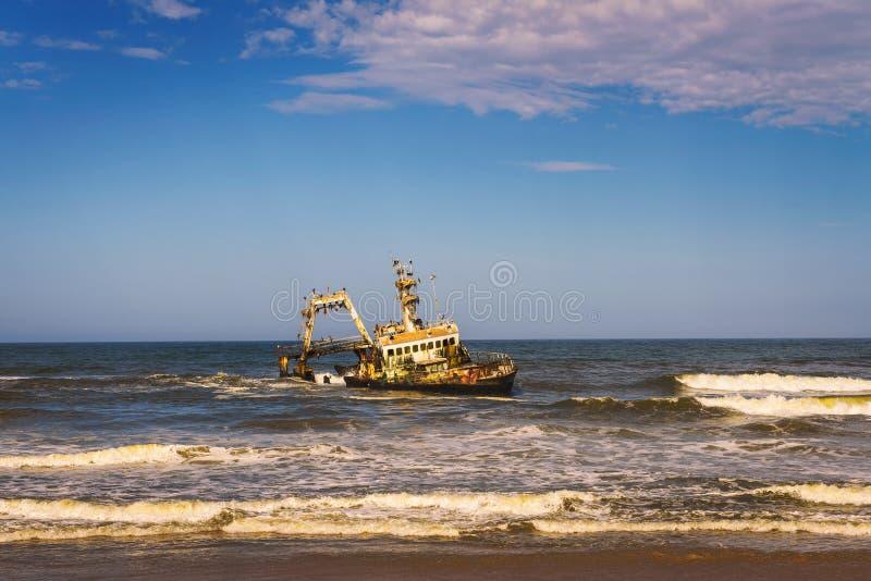 Abandoned shipwreck of the stranded Zeila vessel at the Skeleton Coast, Namibia. Abandoned shipwreck of the stranded Zeila vessel at the Skeleton Coast near royalty free stock photos