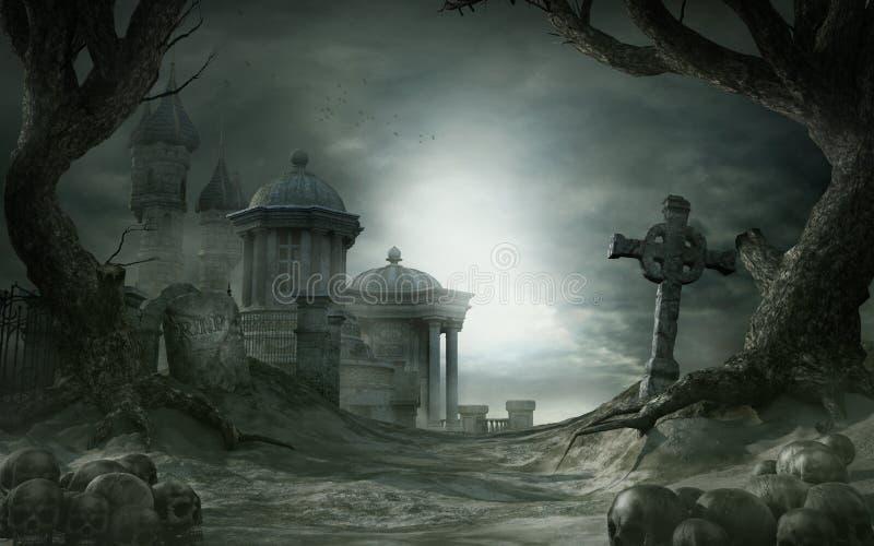 Abandoned shrine royalty free illustration