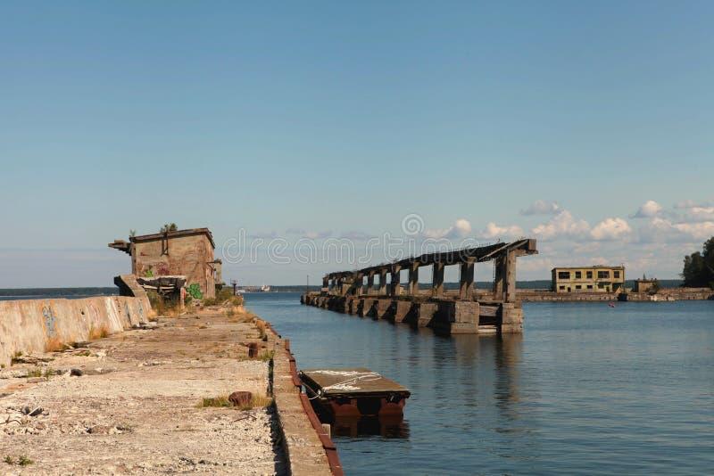 Abandoned Soviet submarine repair base at Hara, North Coast of Estonia, the Baltic Sea royalty free stock photo