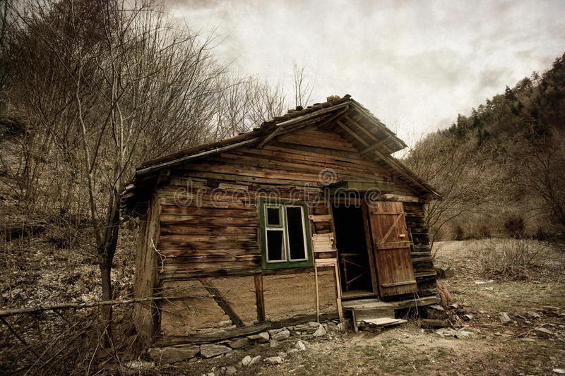 Spooky house. Abandoned spooky house- vintage textured background royalty free stock photography