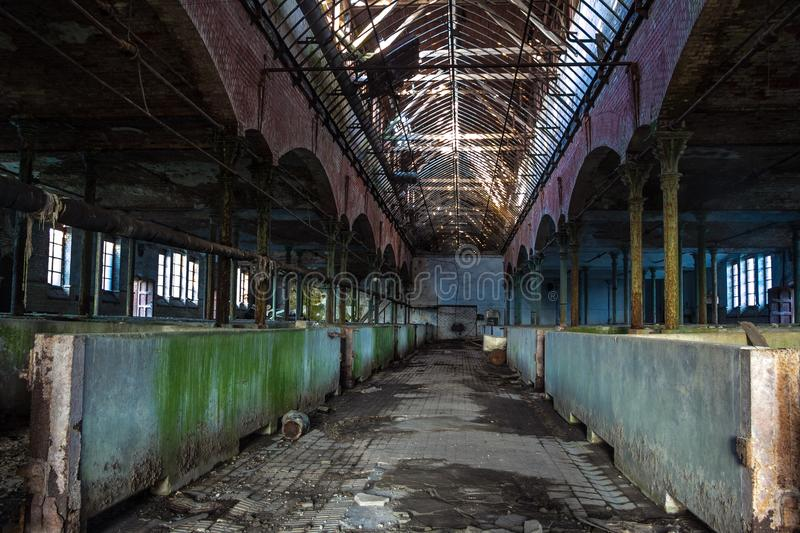 Abandoned stabling for cattle in German slaughterhouse Rosenau royalty free stock photography